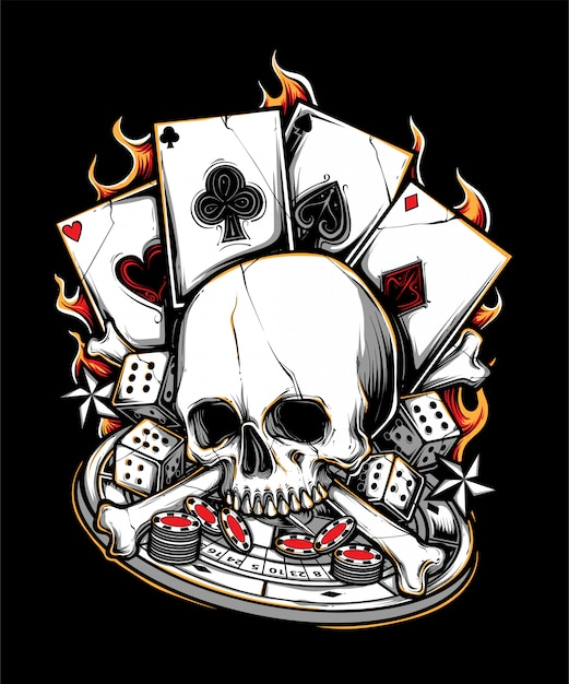 Poker gambler bone skull illustration Premium Vector