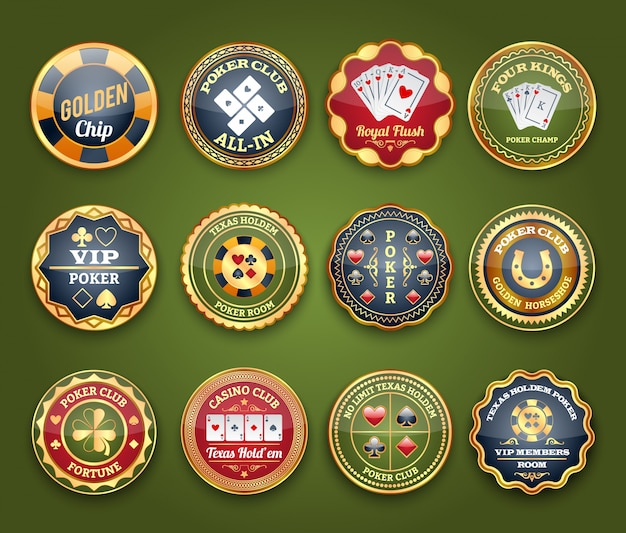 Poker glossy labels set Free Vector