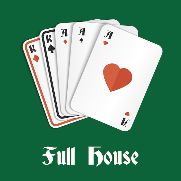 Poker hand full house Premium Vector