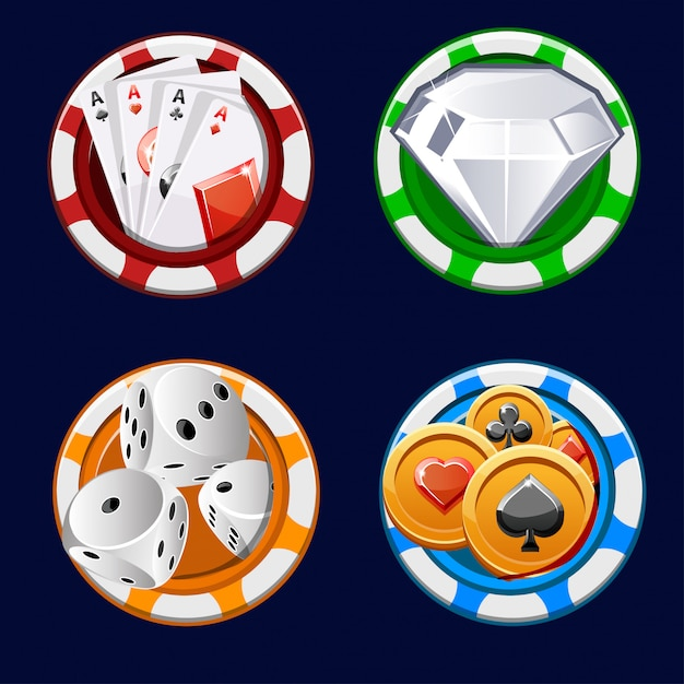 Poker icon color chips Premium Vector