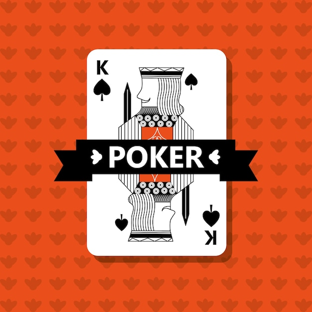 Poker king spade game banner ribbon Premium Vector