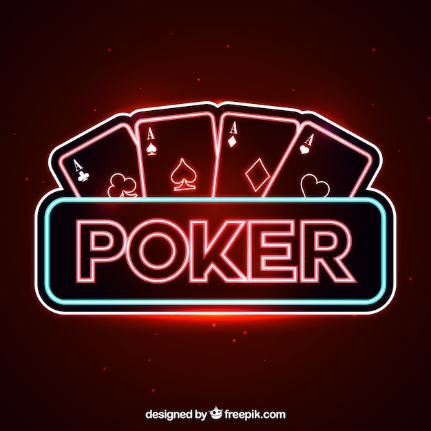 Poker neon lights background Free Vector