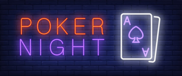 Poker night neon text with playing cards Free Vector