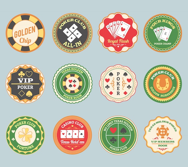 Poker retro labels set Free Vector