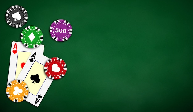 Poker table background in green color with aces and poker chips. Premium Vector