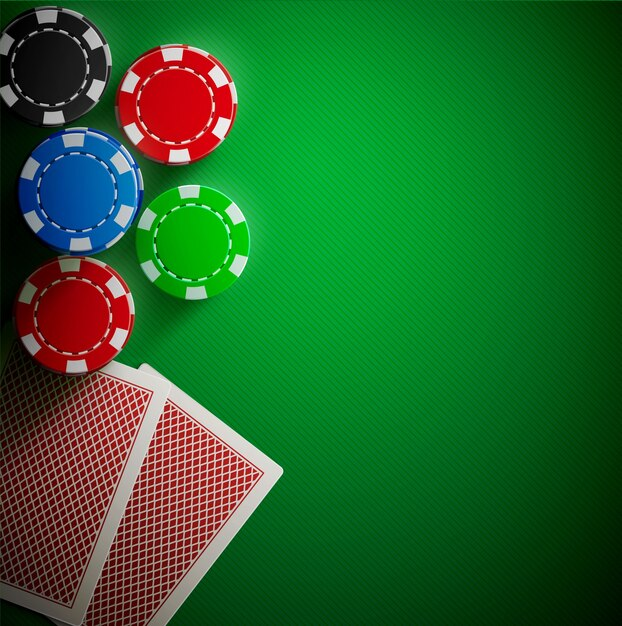 Premium Vector | Poker table cards and chips realistic theme