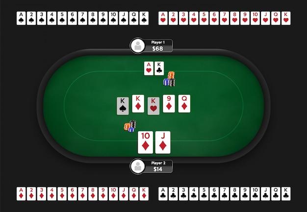 Poker table. online poker room. full deck of playing cards. texas hold'em game illustration. Premium Vector