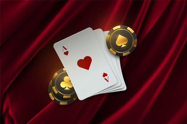 Покерный турнир иллюстрации. четыре игральные карты с азартными играми фишки на фоне бархатной ткани. баннер казино Premium векторы