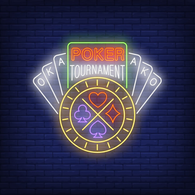 Poker tournament neon text with playing cards and chip Free Vector