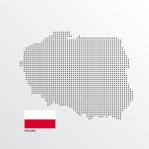 Poland Map design with flag and light background vector Vector ...
