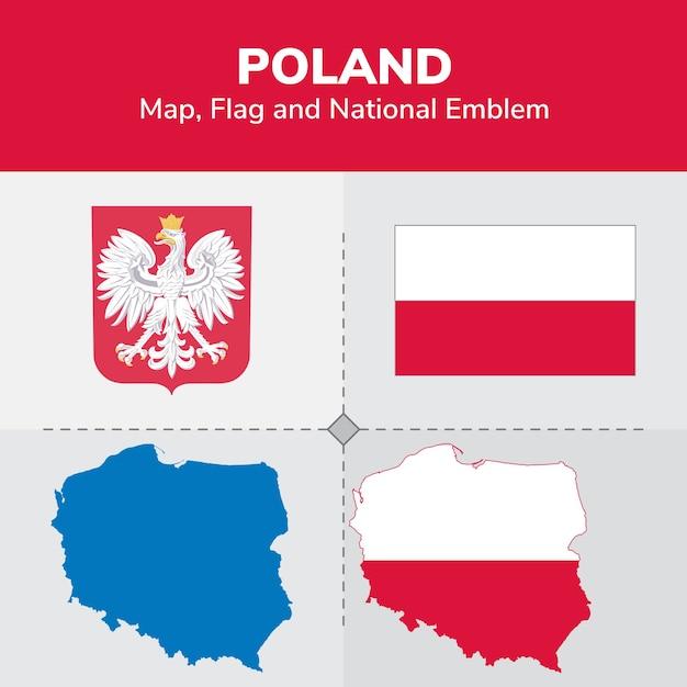 Poland Map, Flag and National Emblem Vector   Premium Download