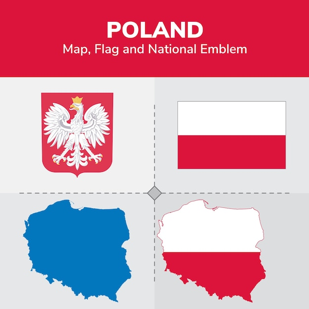 Poland map, flag and national emblem Vector | Premium Download