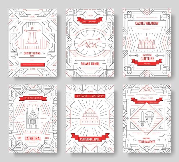 ポーランドの細い線のパンフレットカードセット。 flyear、雑誌、ポスター、本のアーキテクチャテンプレート Premiumベクター