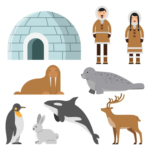 Polar, arctic animals and residents of the north near eskimo ice house Premium Vector