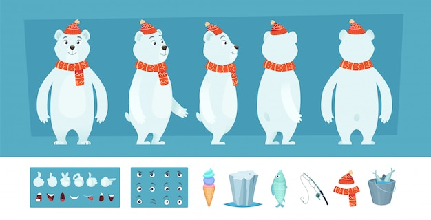 Polar bear animation. white wild animal body parts and different faces character creation kit Premiu