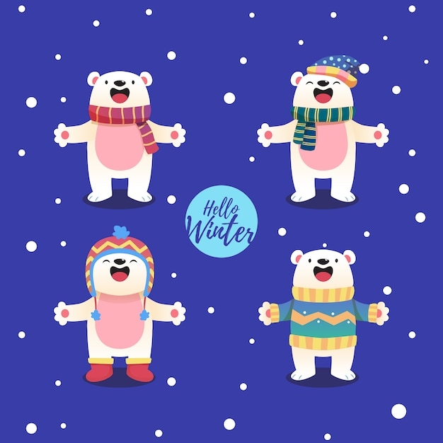 Polar bear cartoon character with a winter theme Premium Vector