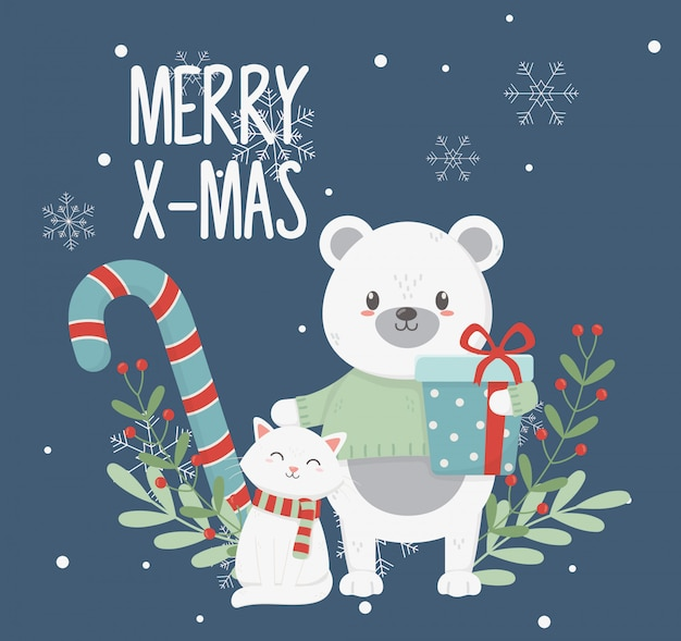 Polar bear cat with gift box leaves merry christmas card Premium Vector