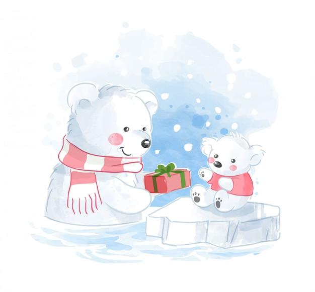 Polar bear family with present illustration Premium Vector