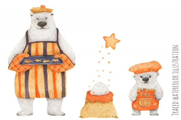 Polar bear father and son baking fish cookies Premium Vector
