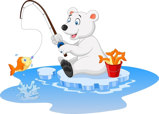 Polar bear is fishing isolated on white background Premium Vector