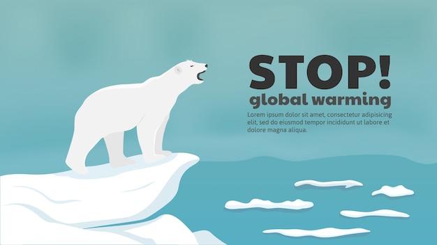 Polar bear needs sea ice to survive Premium Vector