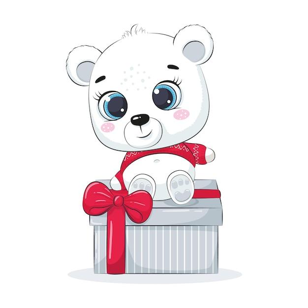 ギフト用の箱のシロクマ。メリークリスマスデザイン。 Premiumベクター