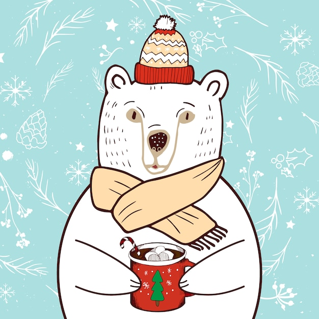Polar bear in red hat. merry christmas and happy new year greeting card. Free Vector