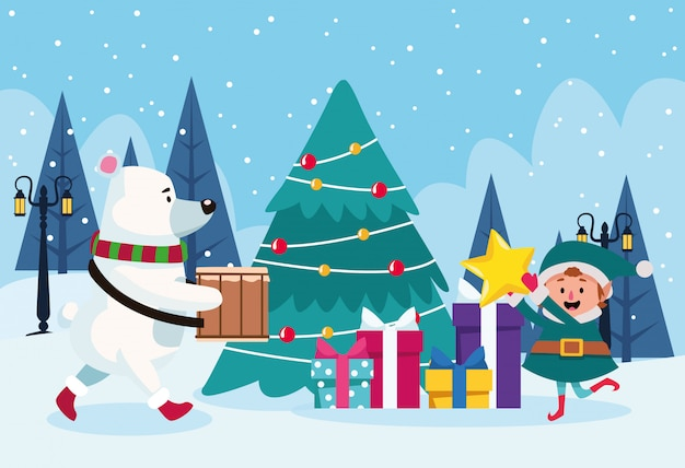 Polar bear and santas helper around a christmas tree with gift boxes over winter scenary , colorful  ,  illustration Premium Vector