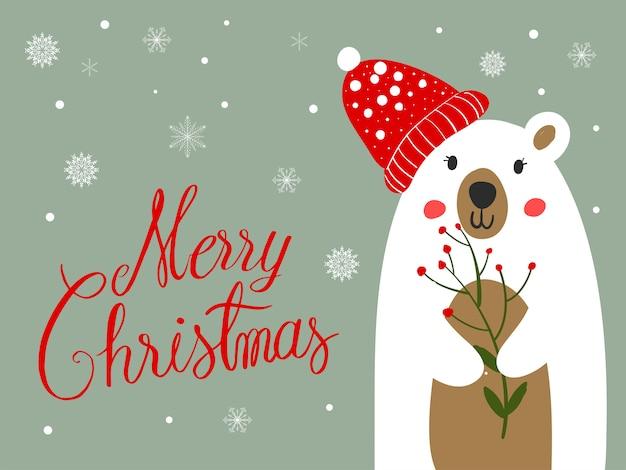 Polar bear scarf cartoon with christmas festival and snow winter. Premium Vector