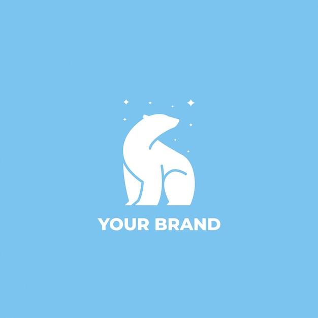 Полярный медведь звезды логотип дизайн шаблона Premium векторы