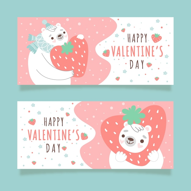 Polar bear with strawberry valentine's day banners Free Vector