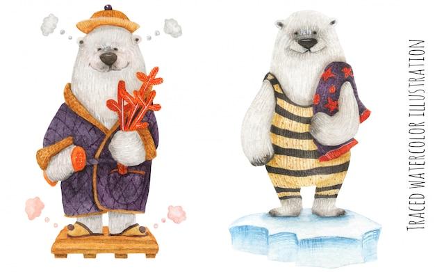 Polar bears in the arctic spa Premium Vector