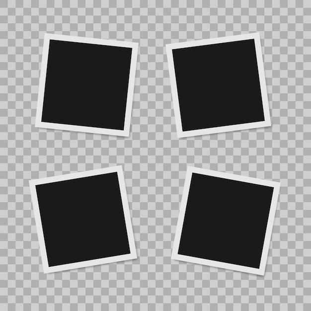 Polaroid border empty realistic photo frame Premium Vector