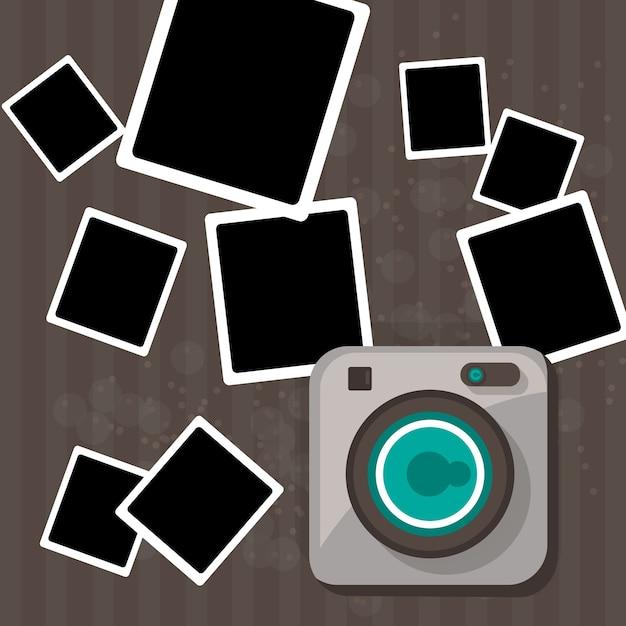 Polaroid camera background Free Vector