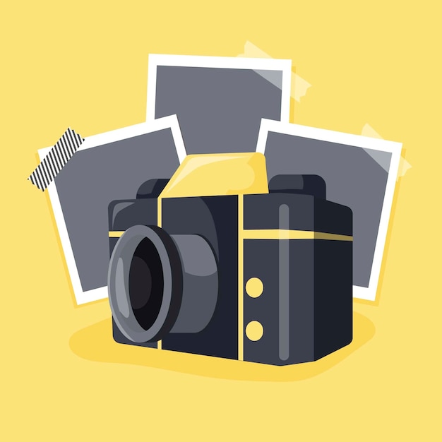 Polaroid camera and pictures Free Vector