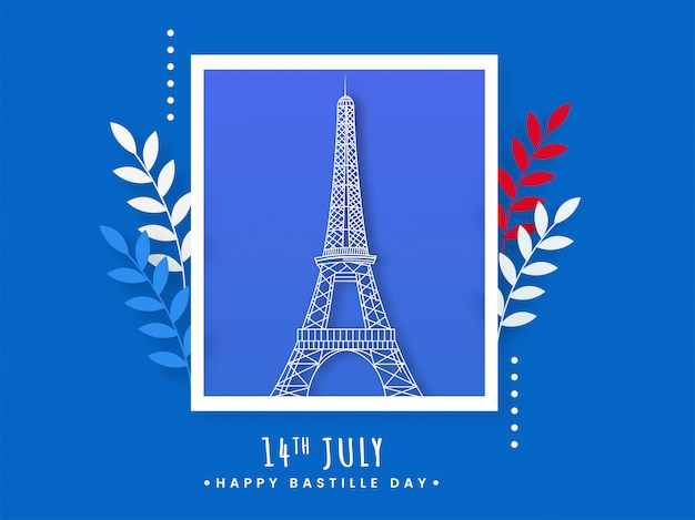 Polaroid eiffel tower image with leaves on blue background for 14th july, happy bastille day. Premium Vector