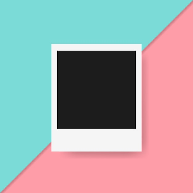 Polaroid frame in colorful background Free Vector