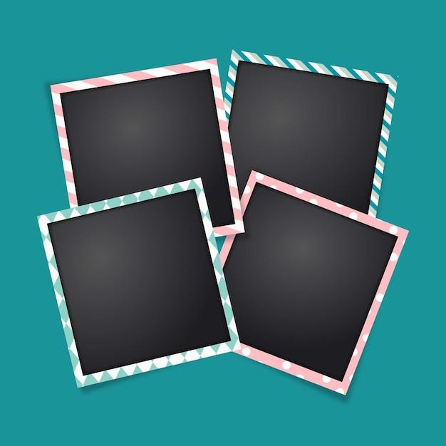Polaroid frames template Free Vector