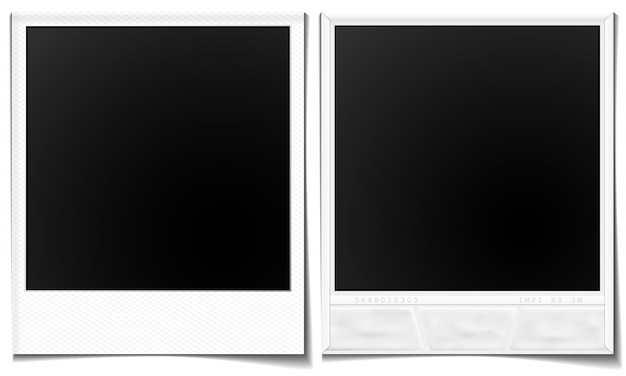 Polaroid images front and back Premium Vector