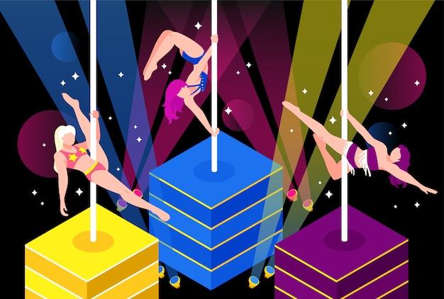 Pole dance performance illustration Free Vector