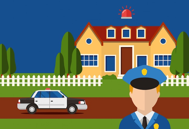 Police action security house system burglar alarm, e illustration. automataion contact with control servise for report house Premium Vector