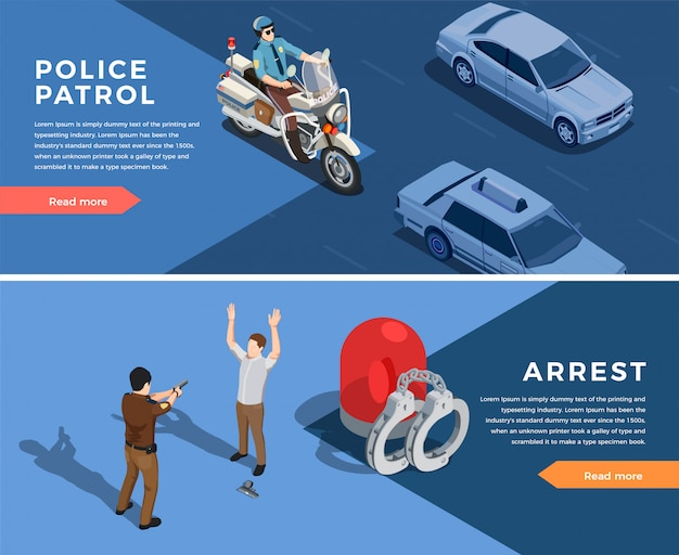 Police banners set Free Vector