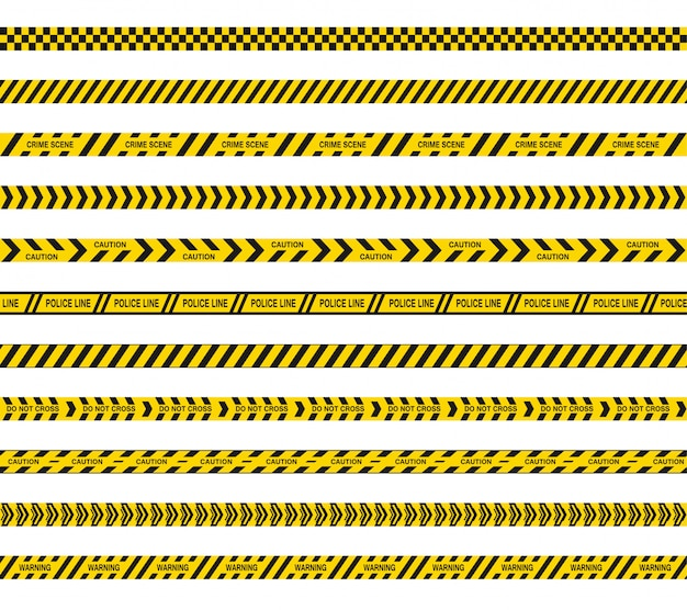 Police or barricade tapes do not cross. black and yellow stripes of danger. seamless barrier lines. Premium Vector