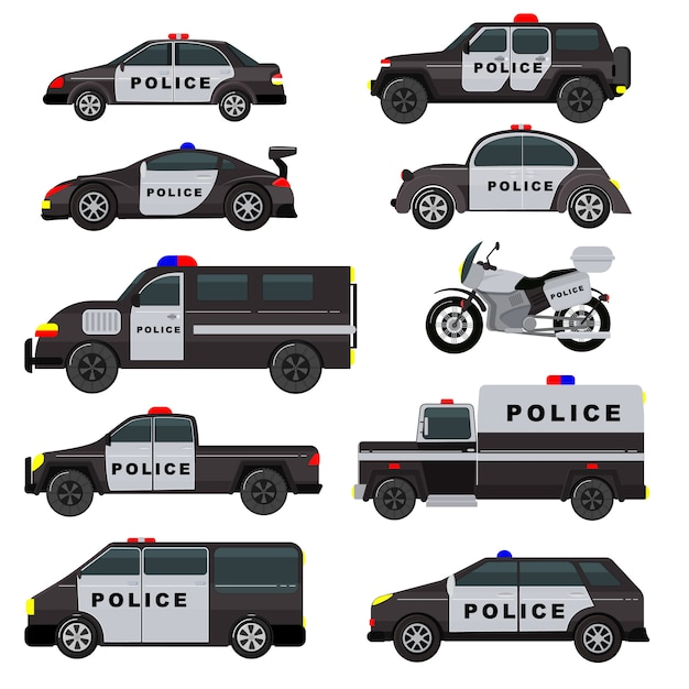Police car emergency policy vehicle truck and suv automobile patrol and policemans motorcycle illustration set of police-officers transport and police-service auto isolated on white background Premium Vector