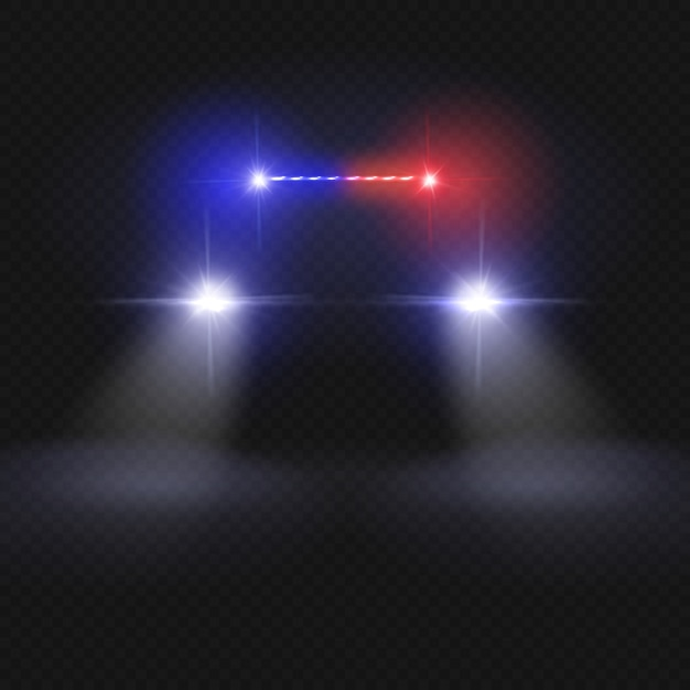 Police car headlight beams. automobile at night road vector concept. police car light, auto headlight in night illustration Premium Vector