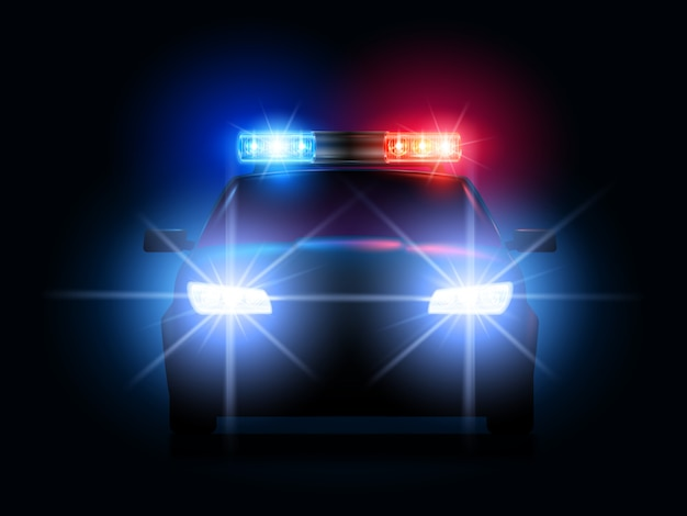 Police car lights. security sheriff cars headlights and flashers, emergency siren light and secure transport illustration Premium Vector