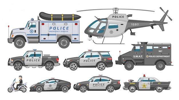 Police car  policy vehicle or helicopter and policeman on motorbike illustration set of police-officers transport and police-service auto  on white background Premium Vector