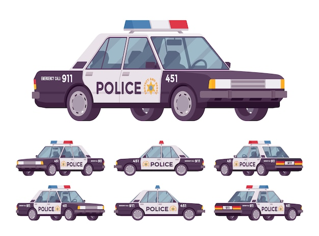 Police car set Premium Vector