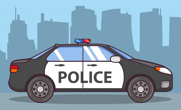 Police car side view. Premium Vector