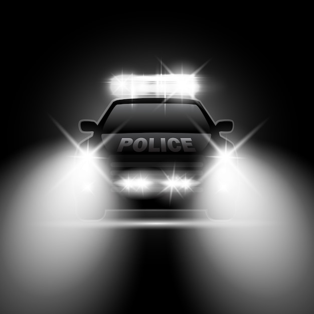 Police car with headlights flares and siren at the night road. special light beams Premium Vector